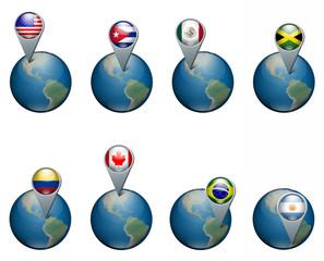 Nazioni appuntate sul mondo