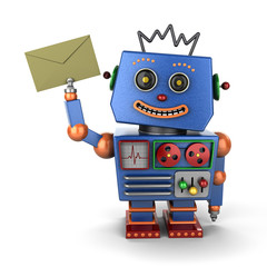 Vintage toy robot with envelope