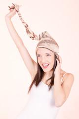 Beautiful Girl in Knitted Peruvian Hat