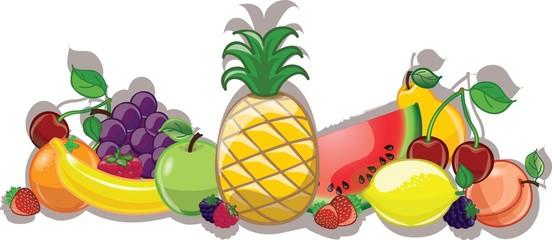 Мультфильм  фрукты, фон