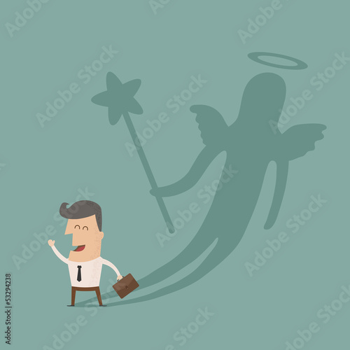 Businessman casting a angel shadow