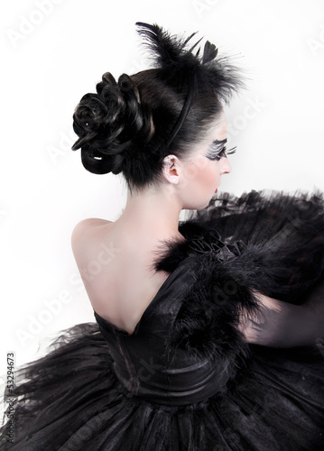 Back. Fashion Art Portrait Of Beautiful Girl. Vogue Style Woman.