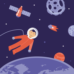 Vector cartoon astronaut in space