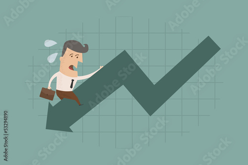 Businessman graph down , eps10 vector format