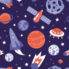 Vector seamless pattern with planets and stars