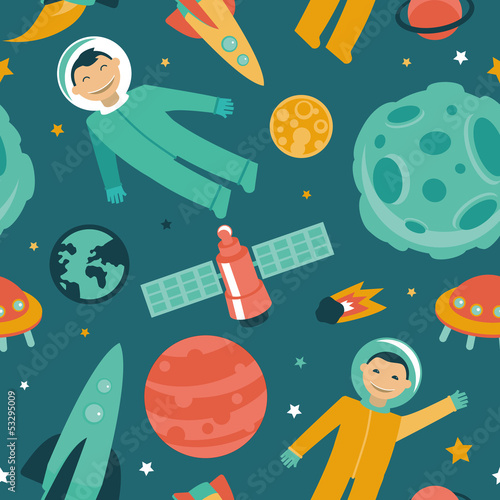 Vector seamless pattern with space and planets
