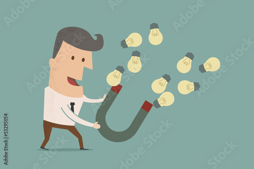 businessman with horseshoe magnet collecting  light bulb , eps10