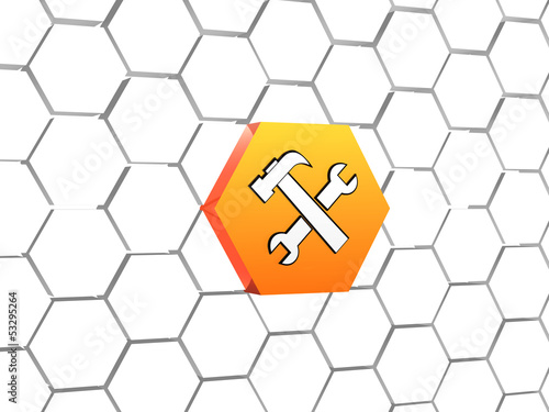 tools sign in orange hexagon