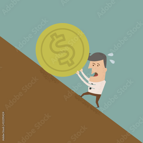 Businessman pushing coin