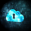 Cloud computing concept: Cloud Whis Keyhole on digital backgroun
