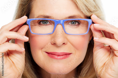 Beautiful senior woman wearing eyeglasses.