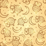 Cute Sheep Silhouettes at Seamless Pattern