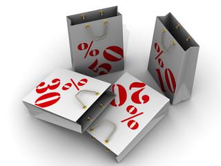 Пакеты для покупок с процентами скидок