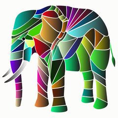 illustrazione di elefante composto da colori