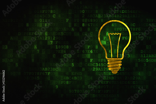 Business concept: Light Bulb on digital background