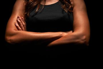 Upper body of a muscular woman