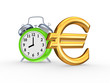 Green watch and sign of euro.