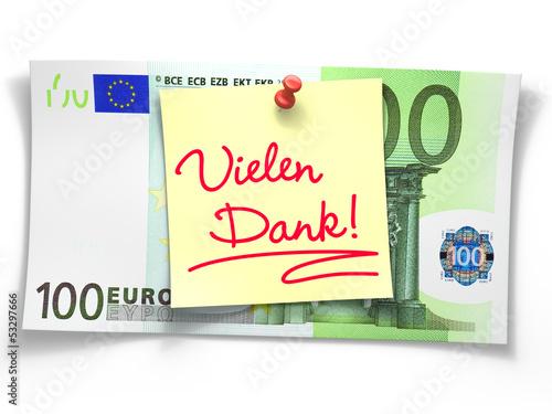 """100 Euroschein mit Notiz """"Vielen Dank!"""""""