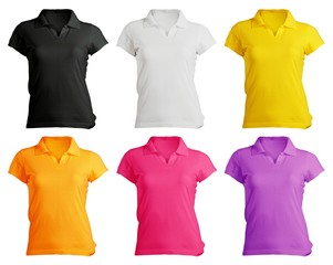 women's polo shirt template in colors