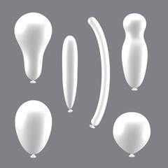 Set of white different types of balloons