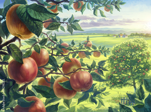 Summer landscape with apples