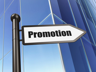 Advertising concept: Promotion on Building background