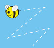 Chubby bee character flying with buzz trail
