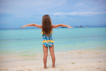 Beautiful little girl spread her arms standing at the beach
