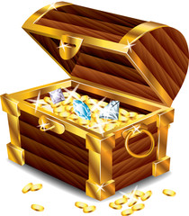 opened treasure chest photo-realistic vector