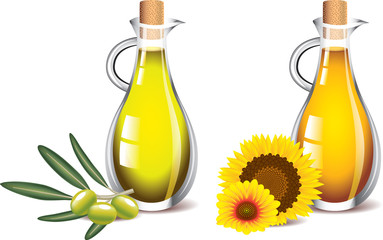 olive and sunflower oils photo-realistic vector