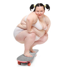 Funny overweight woman skateboarding.
