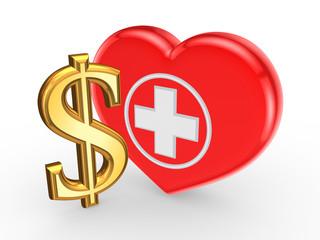 Dollar sign and symbol of medicine.