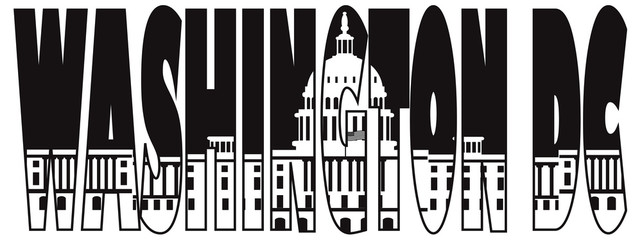 Washington DC Capitol Text Outline Illustration
