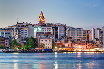 View of Galata district at night, Istanbul, Turkey
