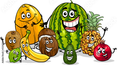 tropical fruits group cartoon illustration