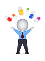 Happy 3d person and colorful pills.