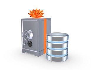 Iron safe and symbol of database.