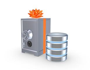 Iron safe and symbol of database.