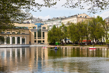 Clean Ponds in Moscow in sunny day