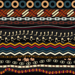 Tribal seamless pattern with figures of mammoth