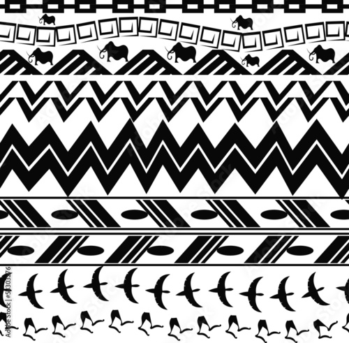 Monochrome seamless texture in tribal style
