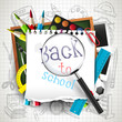 Back to school - creative vector background with school supplies