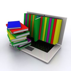 Books from your laptop on a white background