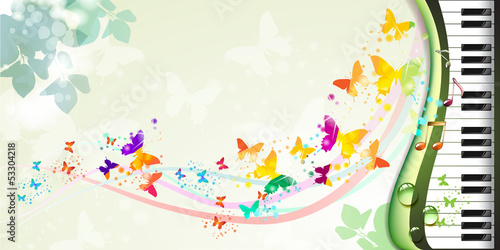 Springtime background with butterflies and piano keys