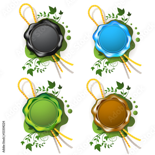 Multicolor sealing wax with decorative plant