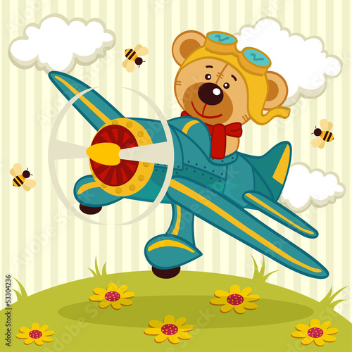 Sticker teddy bear pilot