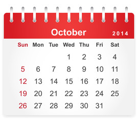 Stylish calendar page for October 2014