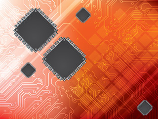 Background with integrated circuit and data processor