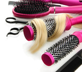Fototapety Comb brushes, hair and cutting shears, isolated on white
