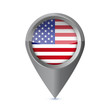 Glossy colorful USA map application point symbol